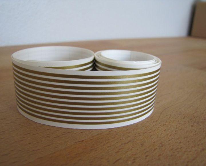 Samolepky, pásiky zlaté, 1,60 mm,  dlžka 150 cm