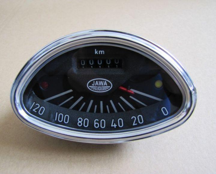 Tachometer oválny Jawa 120 km, replika - Jawa 250,350