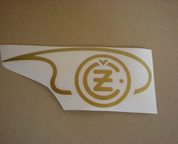 Samolepka loga nádrže zlatá,pravá strana, veľká - ČZ 125-250
