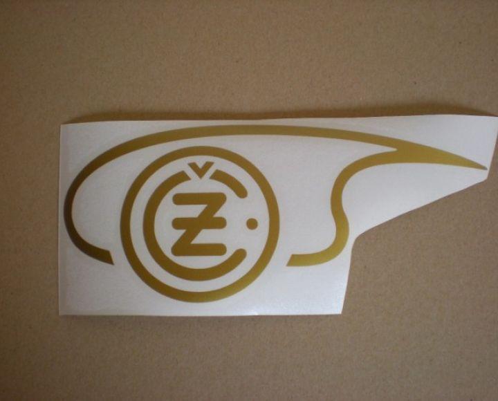 Samolepka loga nádrže zlatá,ľavá strana, veľká - ČZ 125-250