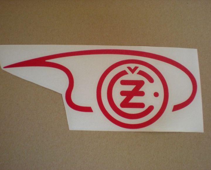 Samolepka loga nádrže červená,pravá strana, veľká - ČZ 125-250