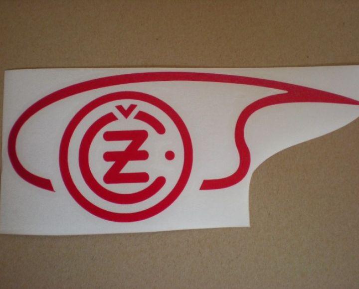 Samolepka loga nádrže červená,ľavá strana, veľká - ČZ 125-250