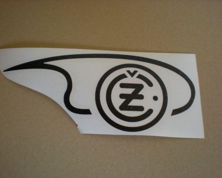Samolepka loga nádrže čierna,pravá strana, veľká - ČZ 125-250