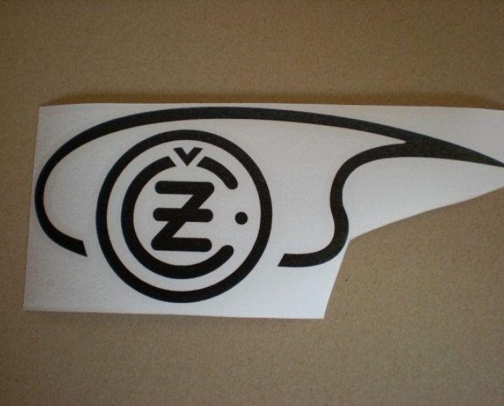 Samolepka loga nádrže čierna,ľavá strana, veľká - ČZ 125-250