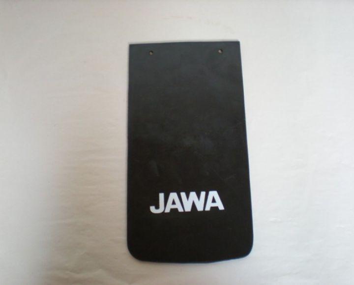 Zásterka zadného blatníka 16x30,5cm s bielym logom - Jawa